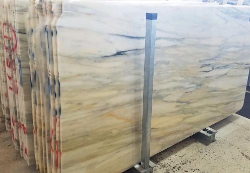 Lieferung polierte Unmaßplatten 2 cm aus Natur Marmor CALACATTA CREMO AA T0191. Detail Bild Fotos