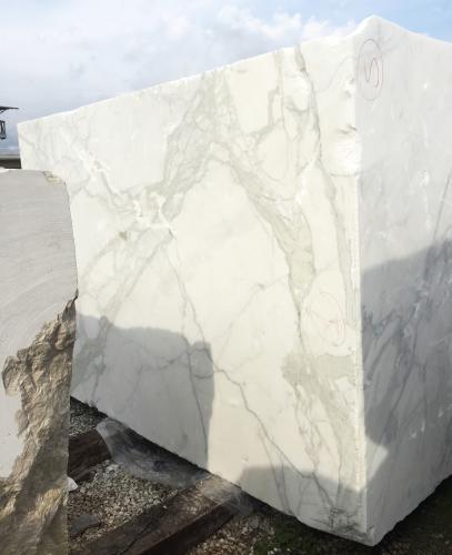 Lieferung rohe Blöcke 177 cm aus Natur Marmor CALACATTA ORO EXTRA 2628. Detail Bild Fotos