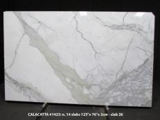 Lieferung polierte Unmaßplatten 2 cm aus Natur Marmor CALACATTA 1423M. Detail Bild Fotos