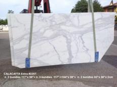 Lieferung geschliffene Unmaßplatten 2 cm aus Natur Marmor CALACATTA 2257. Detail Bild Fotos