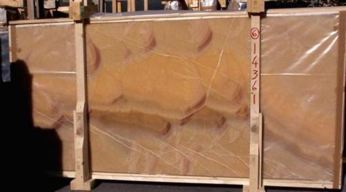 Lieferung polierte Unmaßplatten 2 cm aus Natur Onyx HONEY ONYX 14361_L6. Detail Bild Fotos