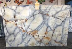 Lieferung polierte Unmaßplatten 2 cm aus Natur Quarzit ISOLA BLUE AA T0264. Detail Bild Fotos