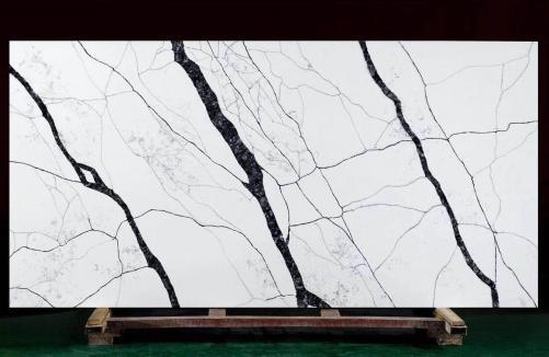 Lieferung polierte Unmaßplatten 3 cm aus künstlichem Aglo Quarz MATERA V7005. Detail Bild Fotos