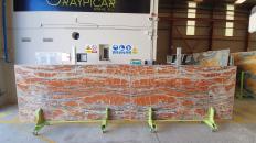 Lieferung polierte Unmaßplatten 2 cm aus Natur Onyx ONICE PASSION Sunset. Detail Bild Fotos