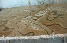 Lieferung polierte Unmaßplatten 2 cm aus Natur Onyx ONYX CAPPUCCINO EM_0411. Detail Bild Fotos