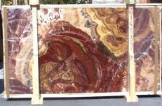 Lieferung polierte Unmaßplatten 2 cm aus Natur Onyx ONYX MULTICOLOR E-14539. Detail Bild Fotos