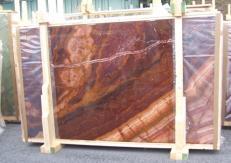 Lieferung polierte Unmaßplatten 2 cm aus Natur Onyx ONYX RED EXTRA E-ORE14634. Detail Bild Fotos