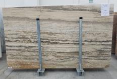 Lieferung geschliffene Unmaßplatten 3 cm aus Natur Travertin TRAVERTINO SILVER ROMANO 1397. Detail Bild Fotos