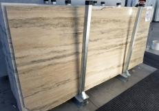 Lieferung polierte Unmaßplatten 2 cm aus Natur Travertin TRAVERTINO SILVER ROMANO GL 898. Detail Bild Fotos