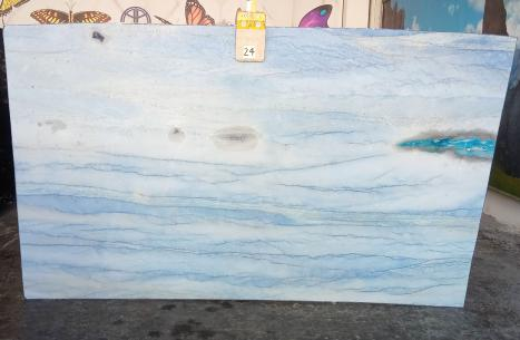 AZUL MAKAUBA polierte Unmaßplatten Z0191 aus Natur Marmor , Slab #24: Lieferung Veneto, Italien