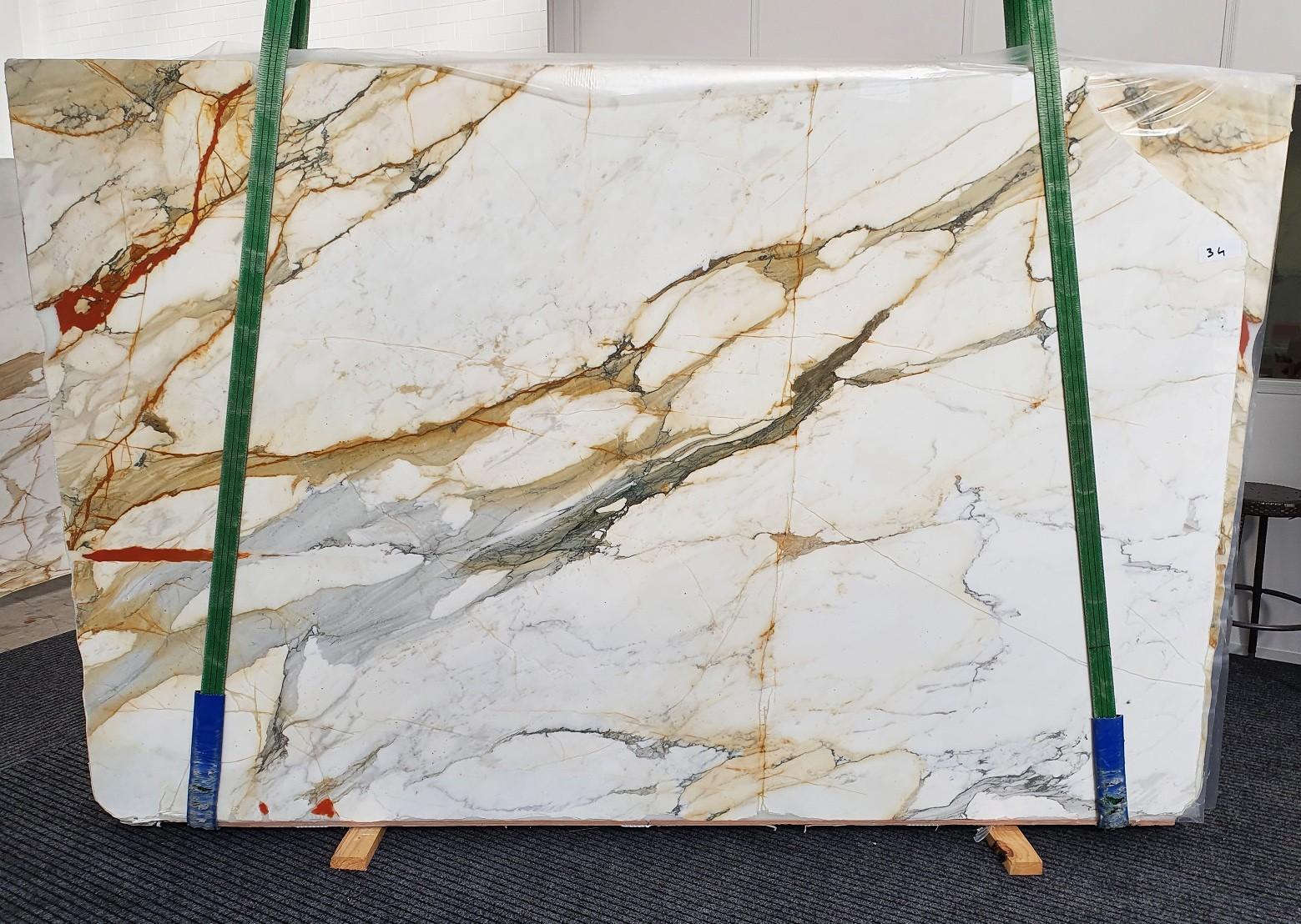 CALACATTA MACCHIAVECCHIA polierte Unmaßplatten 1422 aus Natur Marmor , Slab #34: Lieferung Veneto, Italien