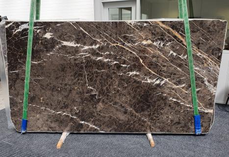 MARRON IRISpolierte Unmaßplatt Spanischer Marmor Slab #18,  290 x 160 x 2 cm  (verfügbar Veneto, Italien) Natur Stein